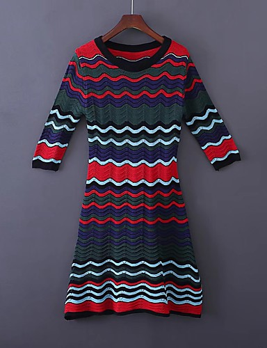 Women's Casual Street chic Loose Sheath Dress - Striped Color Block, Mesh