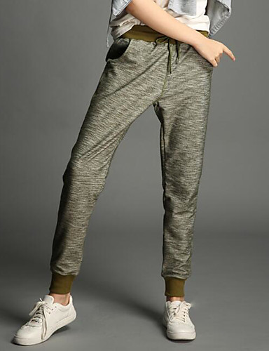Women's Mid Rise Micro-elastic Active Pants,Simple Active Slim Solid