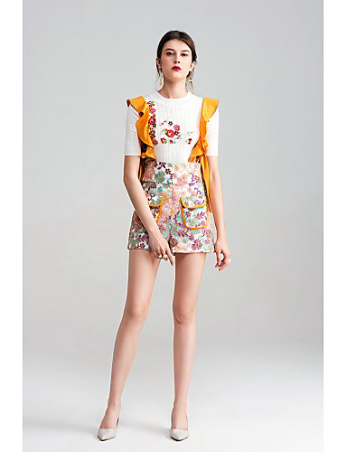 Women's Mid Rise Micro-elastic Shorts Overalls Pants,Cute Vintage Street chic Slim Embroidered Embroidery Flower/Floral