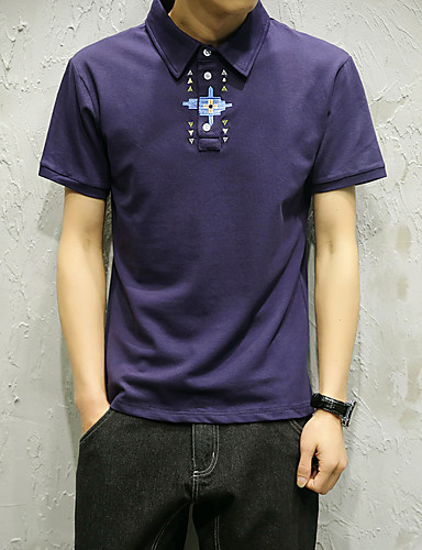 Men's Sports Work Simple Street chic Cotton Polo - Embroidery Embroidered Shirt Collar