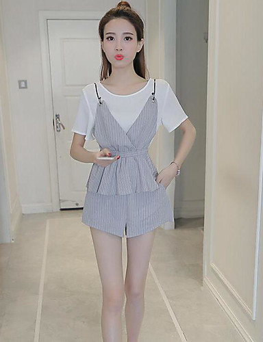 Women's Daily Casual Casual Summer T-shirt Pant Suits,Striped Color Block Round Neck 1/2 Length Sleeve Cotton Micro-elastic