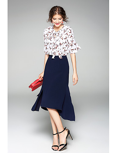 Women's Holiday Going out Work Casual Summer Shirt Skirt Suits