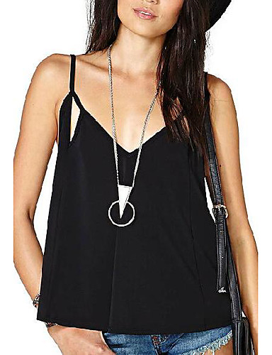 Women's Daily Going out Sexy Summer Fall Tank Top,Solid V Neck Sleeveless Polyester Medium