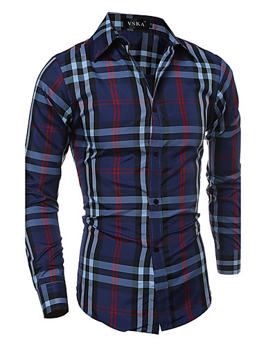 Men's Daily Going out Work Street chic Spring Fall Shirt,Plaid Classic Collar Long Sleeves Polyester Thin