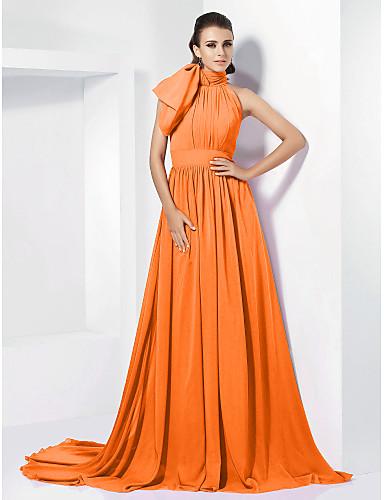 96debb8e0 A-الخط رقبة عالية ذيل محكمة شيفون خمر مستوحاة حفلة رسمية فستان مع شريطة /  طيات بواسطة TS Couture®