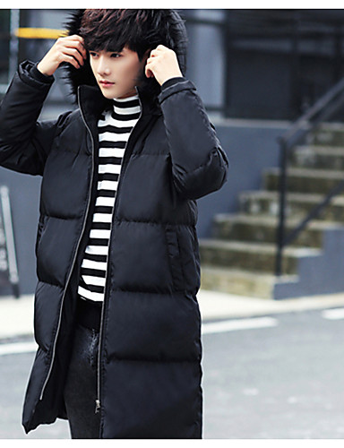 Men's Padded Coat,Simple Casual/Daily Solid-Others Polyester Long Sleeves