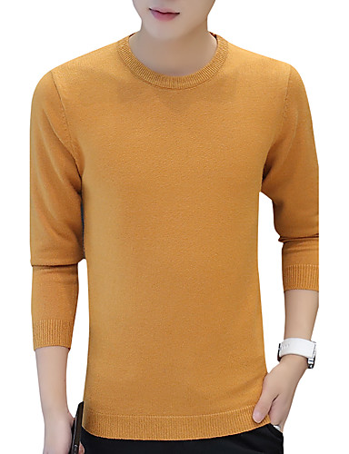 Men's Daily Work Solid Round Neck Pullover,Long Sleeves Winter Fall Cotton