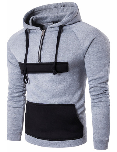 Men's Daily Sports Casual Street chic Punk & Gothic Hoodie Solid Color Block Hooded Micro-elastic Cotton Long Sleeve Winter Fall