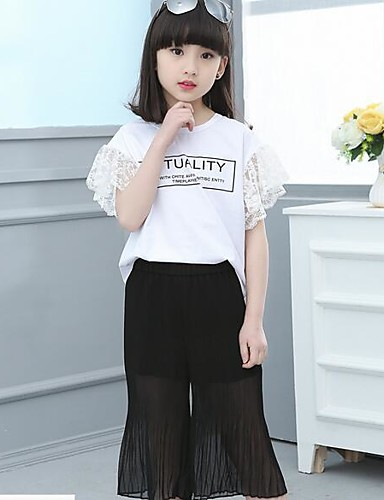 Girls' Solid Sets,Cotton Summer Clothing Set