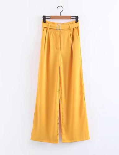Women's High Rise Micro-elastic Wide Leg Pants,Street chic Solid Spring Summer Fall