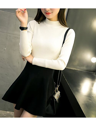 Women's Daily Short Pullover,Solid Turtleneck Long Sleeves Cotton Spring Fall Medium Micro-elastic