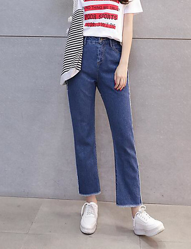 Women's Mid Rise Micro-elastic Jeans Pants,Simple Loose Solid