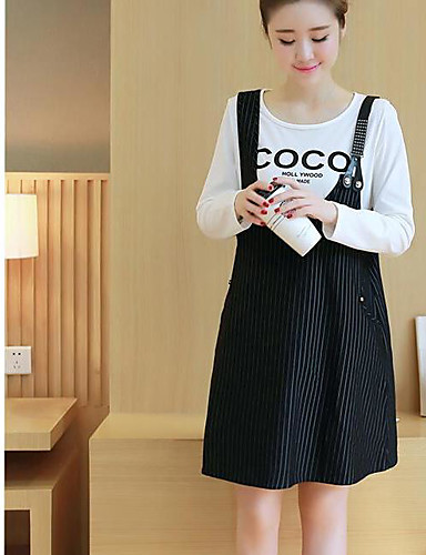 Women's Daily Casual Summer T-shirt Skirt Suits,Striped Color Block Quotes & Sayings Round Neck Long Sleeve Cotton