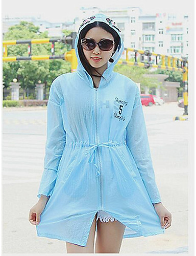 Women's Casual/Daily Simple Summer Cloak/Capes,Print Hooded Long Sleeve Long Nylon