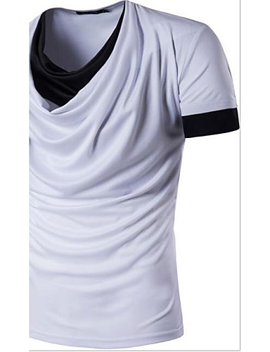Men's Casual/Daily Simple T-shirt,Solid Round Neck Short Sleeves Cotton