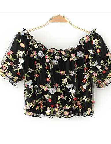 Women's Simple Cotton T-shirt - Solid Colored Print Off Shoulder / Summer