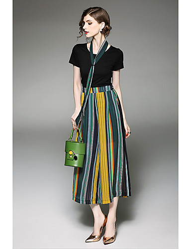 Women's Holiday Going out Work Casual Boho Summer T-shirt Pant Suits
