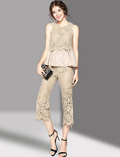 Women's Going out Cute Summer Tank Top Pant Suits,Embroidery Round Neck Sleeveless Polyester Micro-elastic