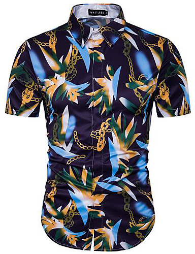 Men's Work Simple Cotton Shirt - Solid Colored / Floral / Print / Long Sleeve