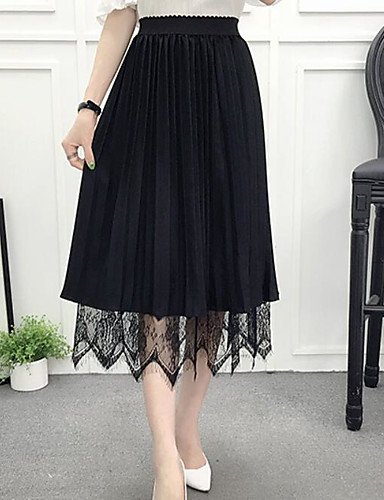 Women's Going out Midi Skirts A Line Solid Summer