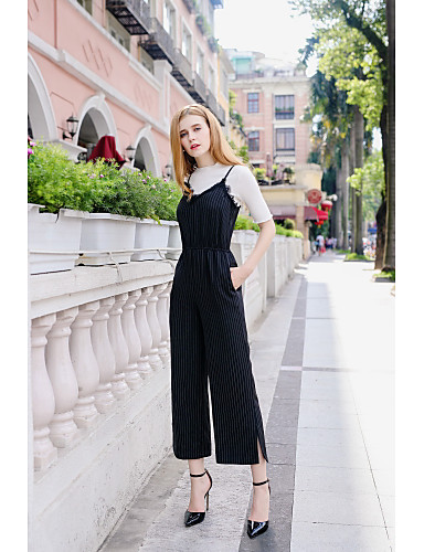 Women's Going out Daily Casual Striped V Neck Jumpsuits