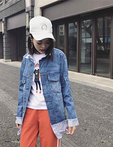 Women's Daily Soak Off Summer Denim Jacket,Solid Round Neck Long Sleeve Regular Polyester