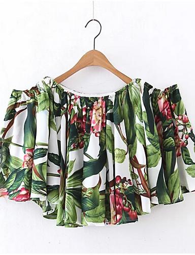 Mulheres Camiseta Simples Floral Decote Canoa