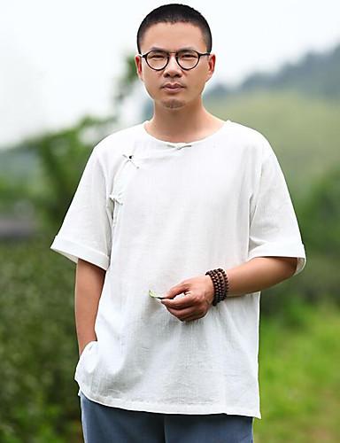 Bomull Lin Kortermet,Rund hals T-skjorte Ensfarget Chinoiserie Fritid/hverdag Herre