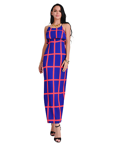 Women's Party Daily Beach Holiday Going out Club Sexy Boho Street chic Bodycon Sheath Dress,Plaid Strap Maxi Sleeveless Cotton Summer