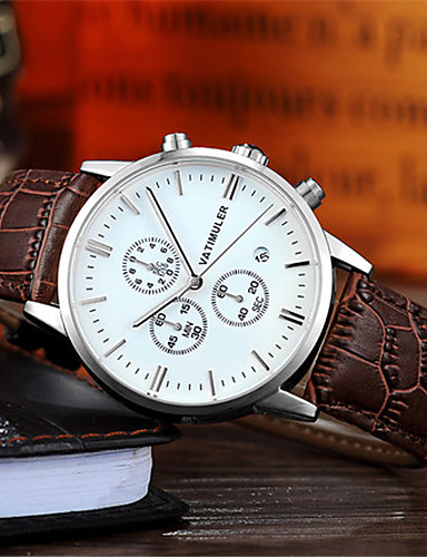 Men's Fashion Watch Japanese Quartz Calendar Chronograph Noctilucent Leather Band Black Brown