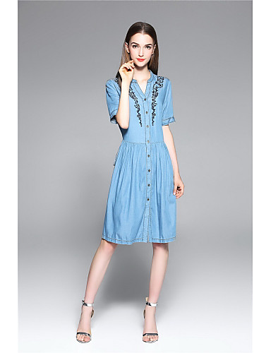 Women's Daily Going out Simple Cute Denim Dress