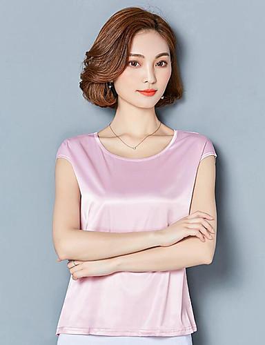 Mulheres Camiseta - Para Noite Sofisticado Luva Lantern Sólido Decote V