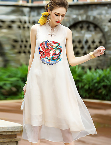 Women's Party Cute Sheath Dress,Embroidered Stand Knee-length Sleeveless Polyester Summer Mid Rise Micro-elastic Medium