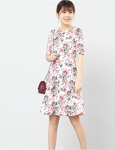 Women's Casual/Daily A Line Skater Dress,Floral Round Neck Knee-length Short Sleeves Cotton Polyester Summer Mid Rise Micro-elastic Medium