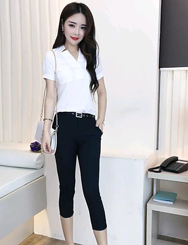 Women's Daily Casual Summer Shirt Pant Suits,Solid V Neck Short Sleeve Polyester