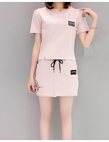 Women's Daily Casual Casual Summer T-shirt Skirt Suits,Solid Print Round Neck Short Sleeve Cotton/nylon with a hint of stretch