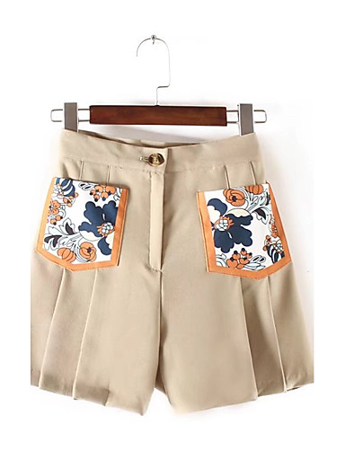 Women's Mid Rise Inelastic Loose Shorts Pants,Street chic Solid Print Cotton Summer Fall