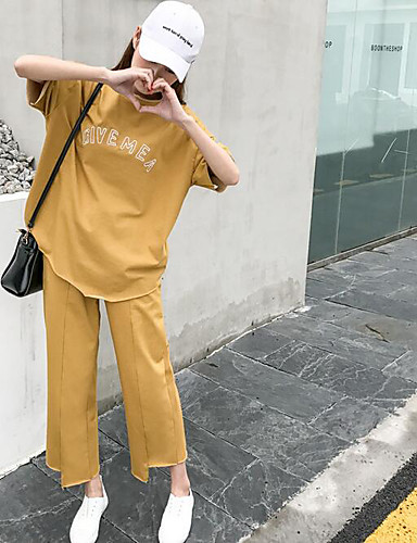 Women's Other Casual Other Fashion Summer T-shirt Pant Suits,Solid Letter Round Neck Short Sleeve Cotton/nylon with a hint of stretch