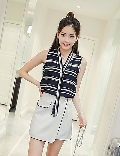 Women's Daily Casual Summer Tank Top Skirt Suits,Solid Striped V Neck Sleeveless Chiffon