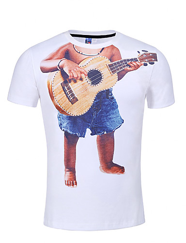 Homens Camiseta - Bandagem Activo Punk & Góticas Estampado Decote Redondo