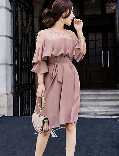 Women's Going out Cute Chiffon Dress,Solid Round Neck Knee-length Short Sleeves Polyester Summer Mid Rise Inelastic Medium