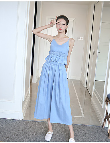 Women's Daily Casual Traditional/Vintage Glamorous & Dramatic Holiday Tops Spring Summer Tank Top Pant Suits,Solid Textured Strap