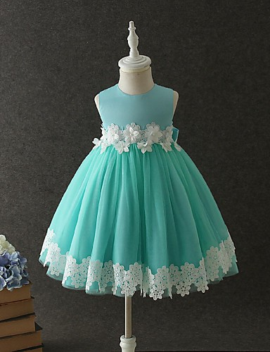 Ball Gown Short / Mini Flower Girl Dress - Organza Sleeveless Jewel Neck with Appliques / Lace / Pearls by