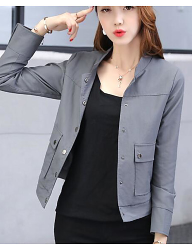 Women's Daily Modern/Comtemporary Spring Coat,Solid Stand Long Sleeve Short Others
