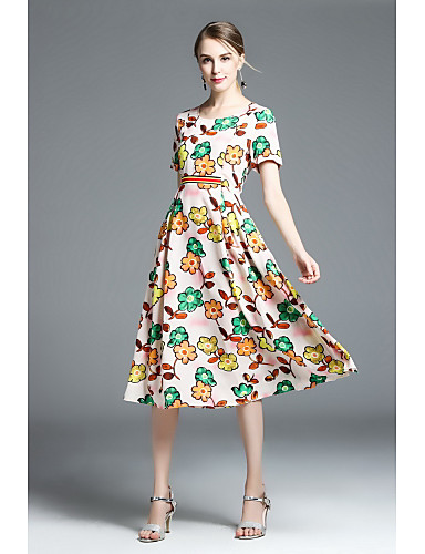 Women's Going out Cute Sheath Dress,Floral Round Neck Midi Short Sleeves Cotton Summer Mid Rise Micro-elastic Medium