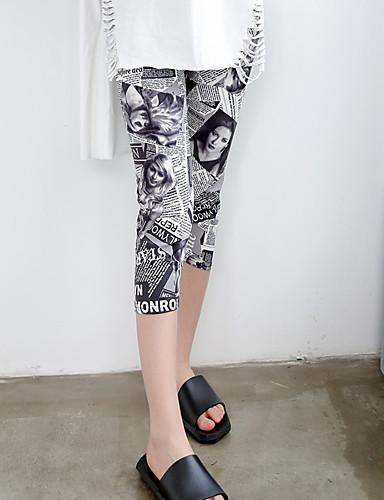 Women's Mid Rise Stretchy Skinny Slim Pants,Vintage Print Polyester Summer