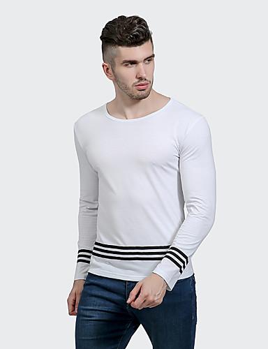 Herren Einfarbig Street Schick Lässig/Alltäglich T-shirt,Rundhalsausschnitt Langarm Polyester