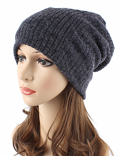 Unisex Headwear / Chic & Modern / Knitwear Cotton Beanie / Slouchy / Floppy Hat - Solid Colored Pure Color / Cute / Fall / Winter