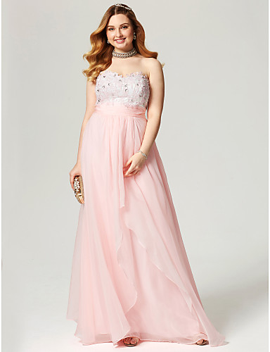 A-Line Sweetheart Neckline Floor Length Chiffon Cocktail Party / Prom / Formal Evening Dress with Appliques / Pleats by TS Couture®