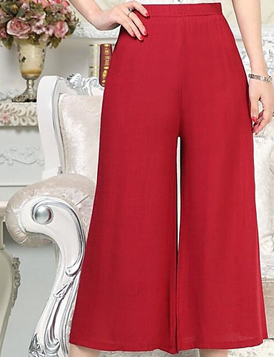 Women's High Waist Inelastic Wide Leg Pants,Simple Wide Leg Solid